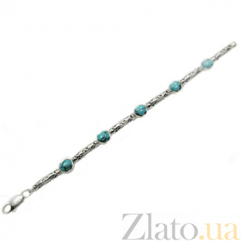 Серебряный браслет с бирюзой Арлекин 04024