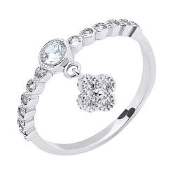 Серебряное кольцо Клевер с подвеской и фианитами 000117786