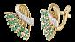 Серебряные серьги с зелеными фианитами Карнавал SLX--С3ФИ/084