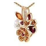 Золотой кулон с бриллиантами, цитринами, родолитами, и перламутром Осенний каприз