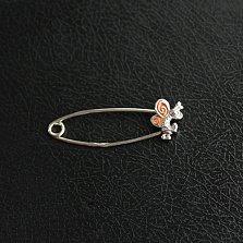 Серебряная булавка с оранжевой эмалью Мотылёк
