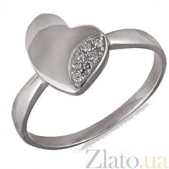 Кольцо в белом золоте Первая любовь с фианитами 000022891