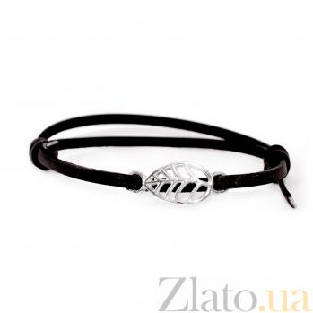 Кожаный браслет с серебром Leaf Black с чернением 000091322