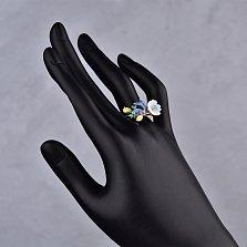 Серебряное кольцо Милый букет с разноцветными фианитами и перламутром