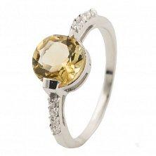 Серебряное кольцо Бианка с цитрином и фианитами