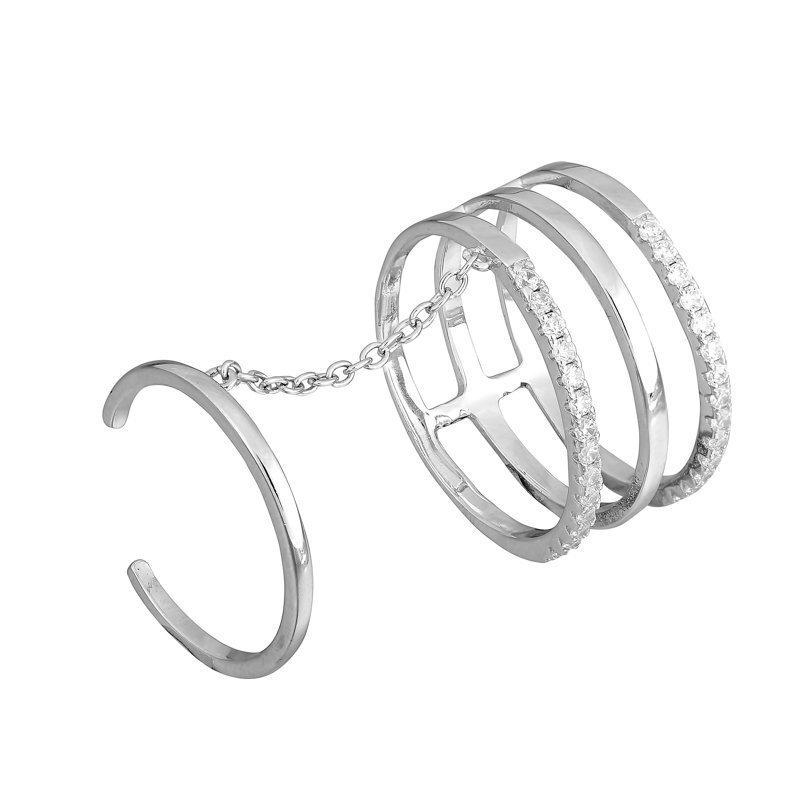 Серебряное кольцо на две фаланги с фианитами Гюльнара