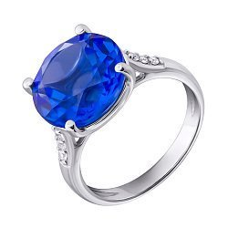 Серебряное кольцо с кварцем Tanzanite и фианитами 000140769