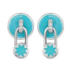 Серебряные серьги-пуссеты с подвесками-замочками, голубой эмалью и фианитами 000105942