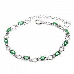 Серебряный браслет с зеленым кварцем и фианитами 000067708