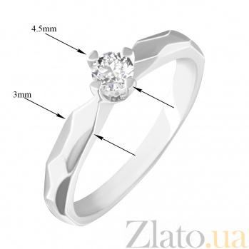 Кольцо в белом золоте Джина с узорными гранями и бриллиантом 000078679