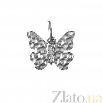 Кулон из белого золота Бабочка с бриллиантами 000080421