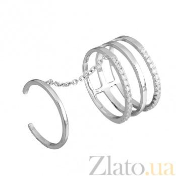 Серебряное кольцо на две фаланги с фианитами Гюльнара 000028069