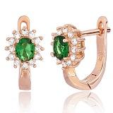 Позолоченные серебряные сережки с зелеными фианитами Анкария