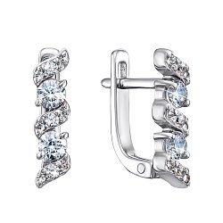 Серебряные серьги с цирконием Swarovski 000122198