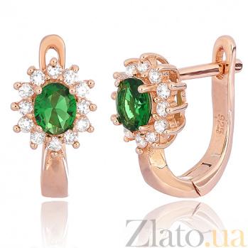Позолоченные серебряные сережки с зелеными фианитами Анкария SLX--СК3ФИ/375