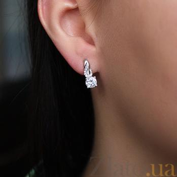 Серебряные серьги Лакшери с фианитами 000029195