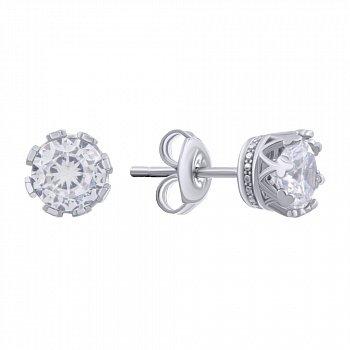 Серебряные серьги-пуссеты с кастом-короной и фианитами 000140310