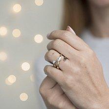 Золотое кольцо Стрелки с белыми и черными фианитами