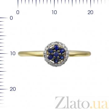 Кольцо из желтого золота Ивори с сапфирами и бриллиантами 000081995