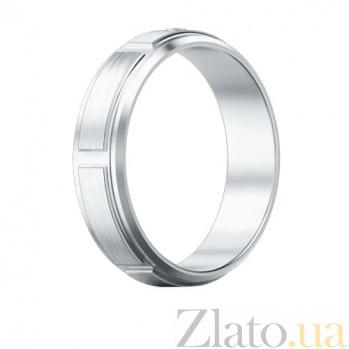 Мужское обручальное кольцо из белого золота с бриллиантом Немыслимая страсть 473
