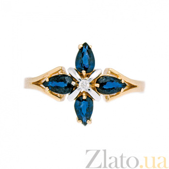 Кольцо из красного золота с сапфирами и бриллиантом Грация ZMX--RS-5504_K