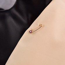 Золотая булавка в красном цвете Маргаритка с красными и белыми фианитами
