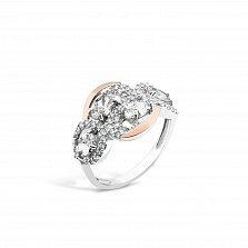 Серебряное кольцо Габриэлла с золотыми накладками, фианитами и родием