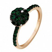 Золотое кольцо Амалия в красном цвете с зелеными сапфирами и бриллиантами