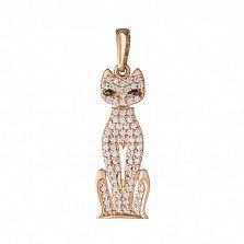 Золотой подвес Грациозная кошка в усыпке фианитов