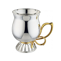 Серебряная чайно-кофейная кружка Бантик с позолотой