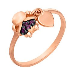 Кольцо из красного золота с подвеской-сердечком и красными фианитами 000104456