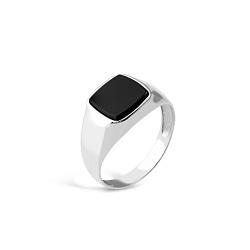 Серебряный перстень-печатка Монтерей с имитацией оникса