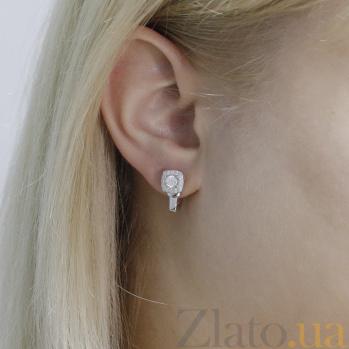 Серебряные серьги Дива с кристаллами циркония 000097176