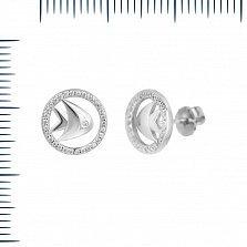 Серебряные серьги-пуссеты Волшебная рыбка с фианитами