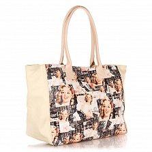 Кожаная сумка на каждый день Genuine Leather 8007 микс с боковыми вставками цвета тауп, на молнии