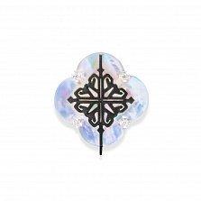 Серебряная серьга-пуссета для конструктора Лакшери с перламутром и красным корундом