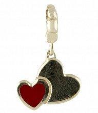 Серебряный шарм Сердечки с черной и красной эмалью
