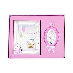 Посеребренная икона в наборе с рамкой для фотографии в розовом цвете 000131803
