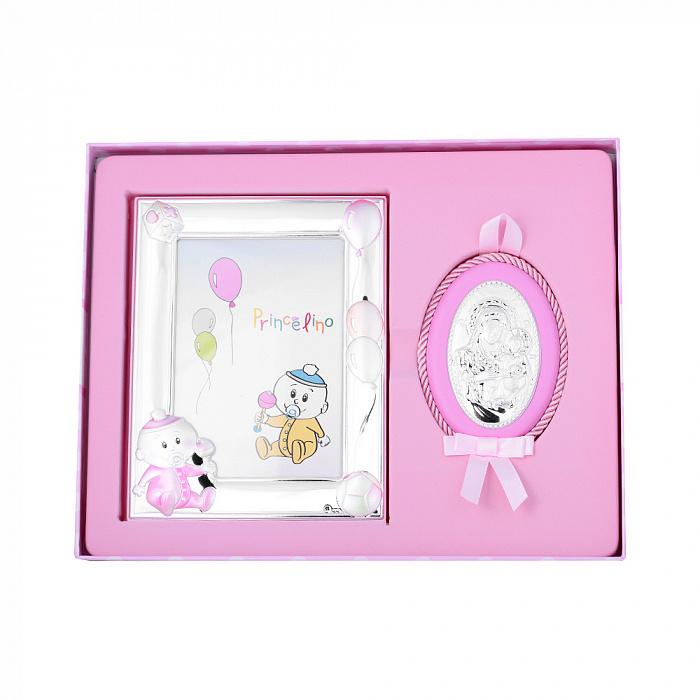 Посеребренная икона в наборе с рамкой для фотографии в розовом цвете 000131803 000131803