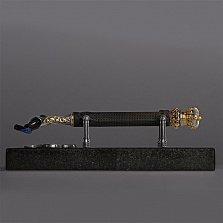 Серебряный бритвенный станок GOTHIC UMBER PREMIUM с эбеновой ручкой на мраморной подставке