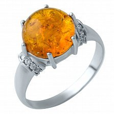 Серебряное кольцо Марсианка с янтарем и фианитами