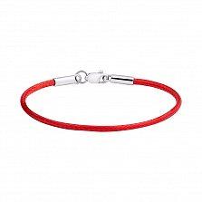 Красный вощеный шелковый шнурок-браслет с серебряной застежкой 000125528