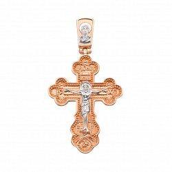 Золотой крестик Распятие Христа и Богородица в комбинированном цвете с молитвой