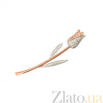 Брошь Тюльпан из красного золота и фианитов VLT--ЕЕ431-3