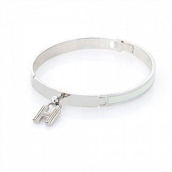 Серебряный браслет Буква Н с белой эмалью 000068615