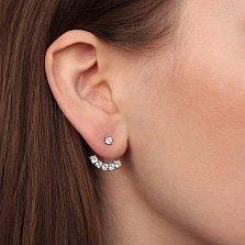 Серебряные пуссеты-джекеты Эдельвейс с белым цирконием