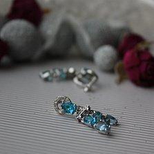 Серебряные серьги-подвески Альпания с голубым кварцем и фианитами