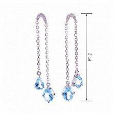 Серебряные серьги Нежные объятия с голубыми топазами и фианитами