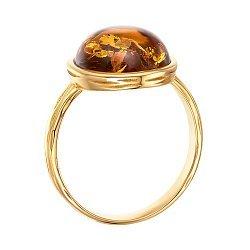 Серебряное позолоченное кольцо с янтарем 000137636