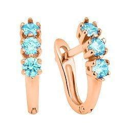 Золотые серьги Трио с голубыми кристаллами Swarovski